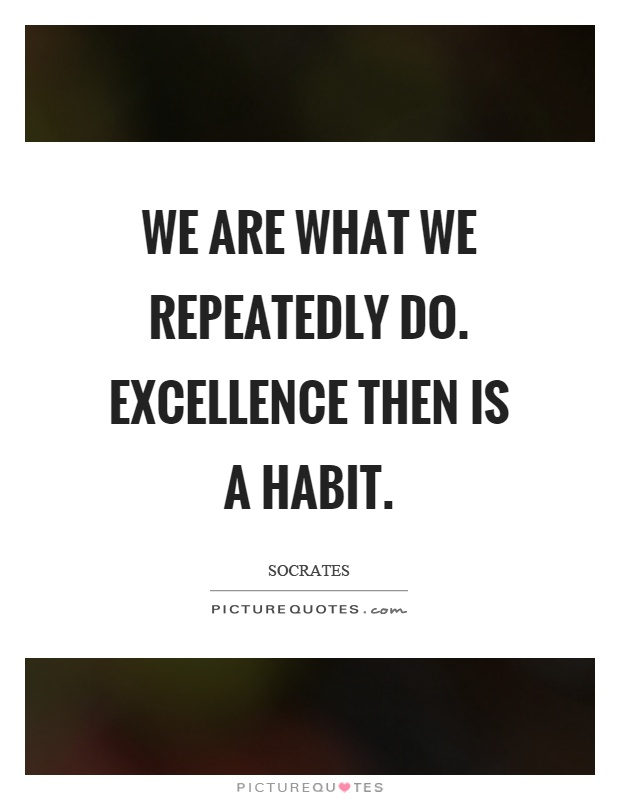 We are what we repeatedly do. Excellence then is a habit Picture Quote #1