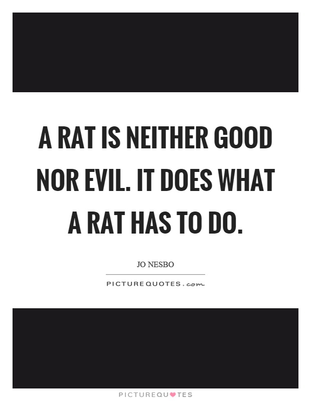 A rat is neither good nor evil. It does what a rat has to do Picture Quote #1