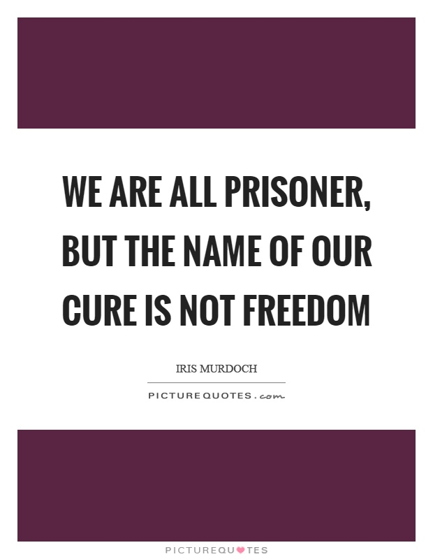 We are all prisoner, but the name of our cure is not freedom Picture Quote #1