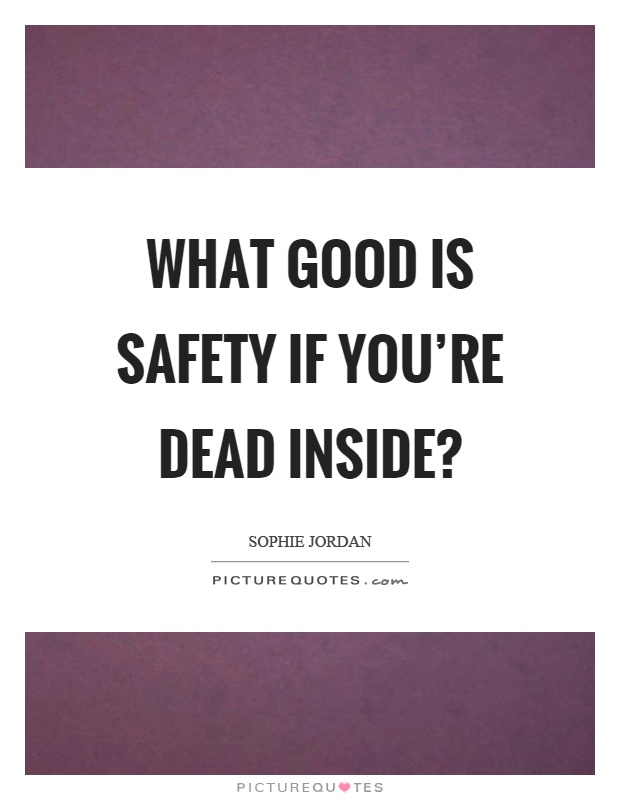 What good is safety if you're dead inside? Picture Quote #1