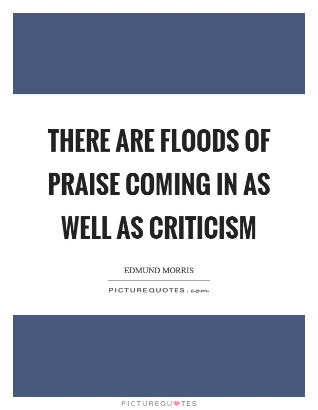 There are floods of praise coming in as well as criticism Picture Quote #1