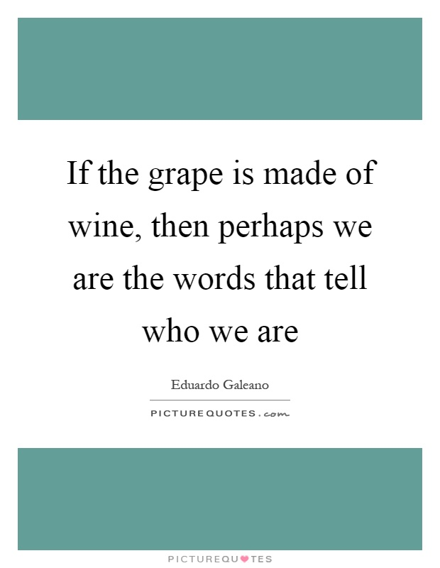 If the grape is made of wine, then perhaps we are the words that tell who we are Picture Quote #1