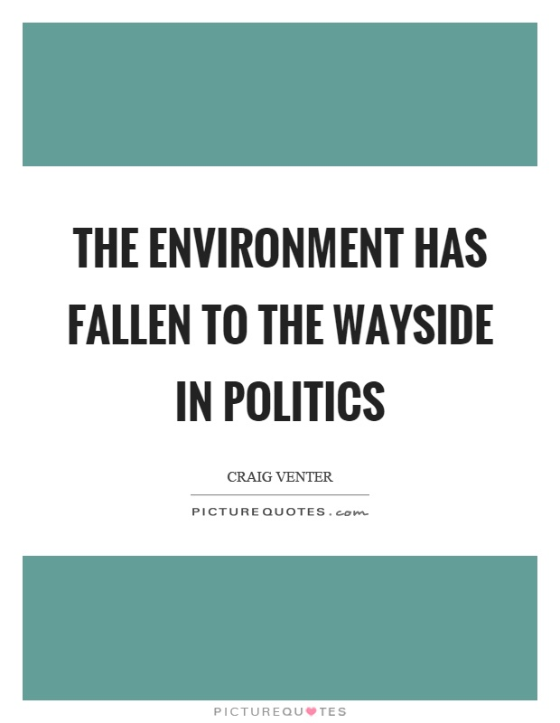 The environment has fallen to the wayside in politics Picture Quote #1