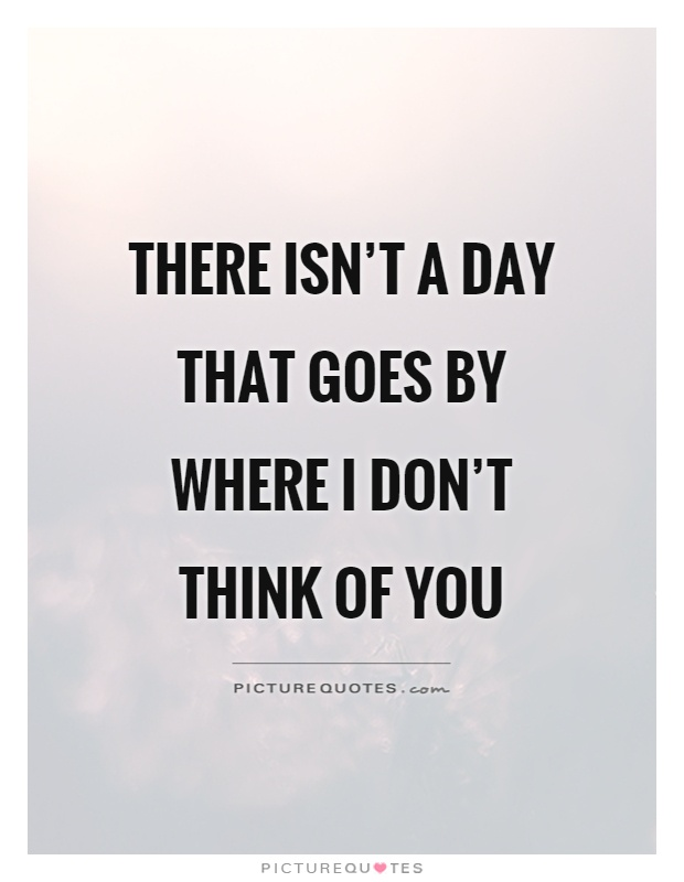 There isn't a day that goes by where I don't think of you Picture Quote #1