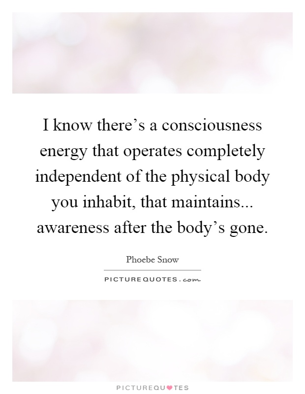 I know there's a consciousness energy that operates completely independent of the physical body you inhabit, that maintains... awareness after the body's gone Picture Quote #1