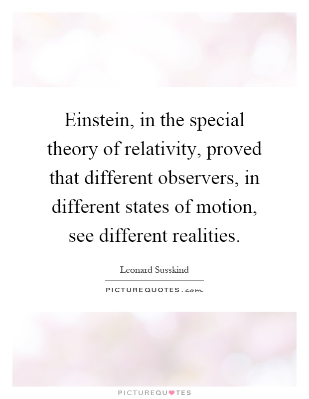 einstein in the special theory of relativity proved that