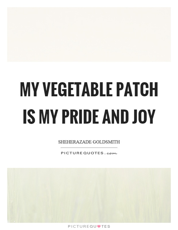 My vegetable patch is my pride and joy Picture Quote #1