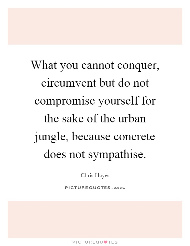 What you cannot conquer, circumvent but do not compromise yourself for the sake of the urban jungle, because concrete does not sympathise Picture Quote #1