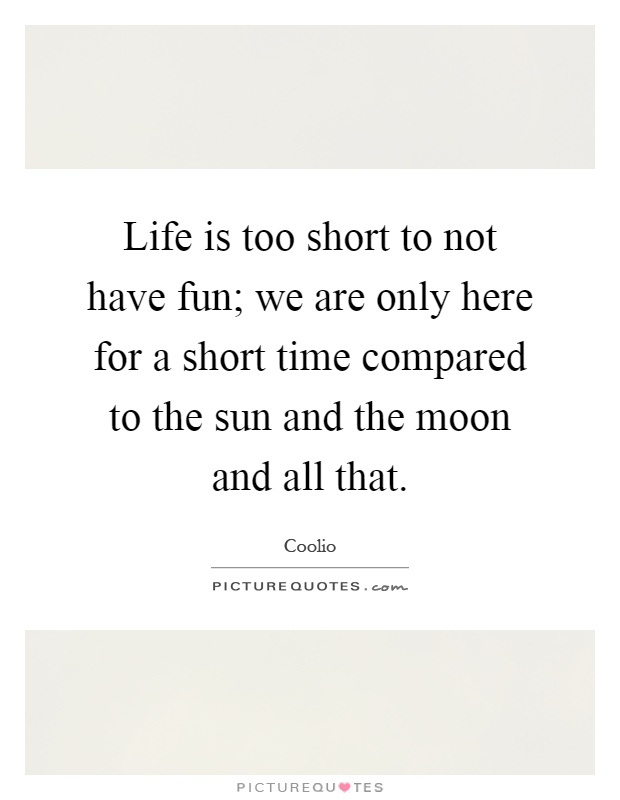Life is too short to not have fun; we are only here for a short time compared to the sun and the moon and all that Picture Quote #1