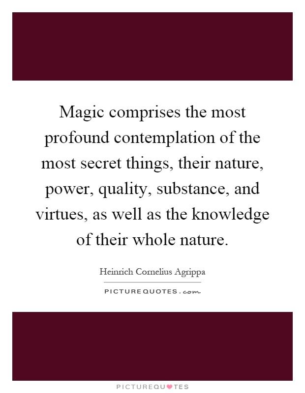 Magic comprises the most profound contemplation of the most secret things, their nature, power, quality, substance, and virtues, as well as the knowledge of their whole nature Picture Quote #1