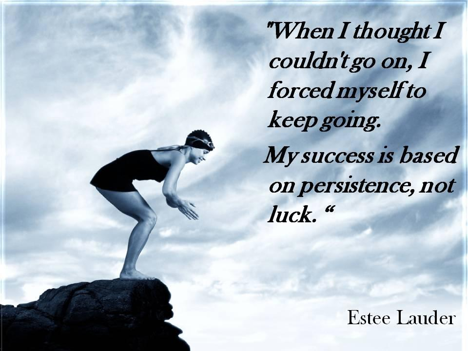 When I thought I couldn't go on, I forced myself to keep going. My success is based on persistence, not luck Picture Quote #1