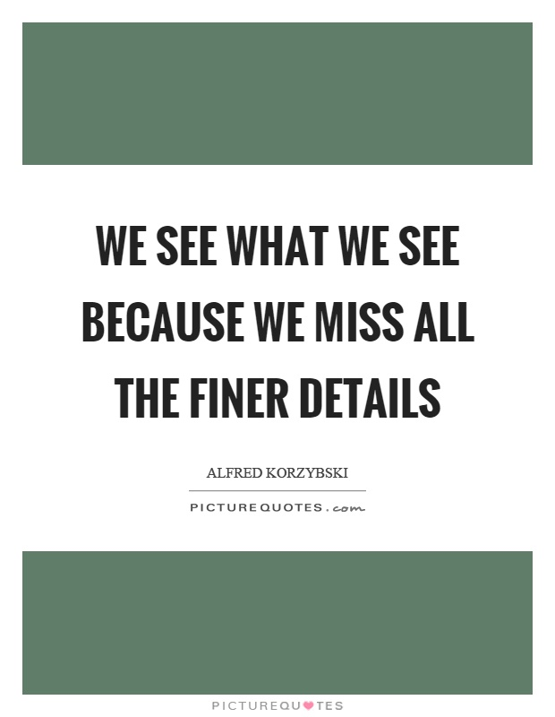 We see what we see because we miss all the finer details Picture Quote #1