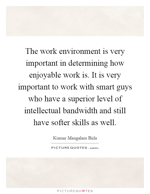 The work environment is very important in determining how enjoyable work is. It is very important to work with smart guys who have a superior level of intellectual bandwidth and still have softer skills as well Picture Quote #1