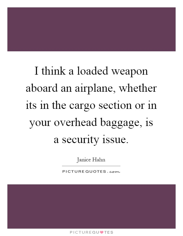 I think a loaded weapon aboard an airplane, whether its in the cargo section or in your overhead baggage, is a security issue Picture Quote #1
