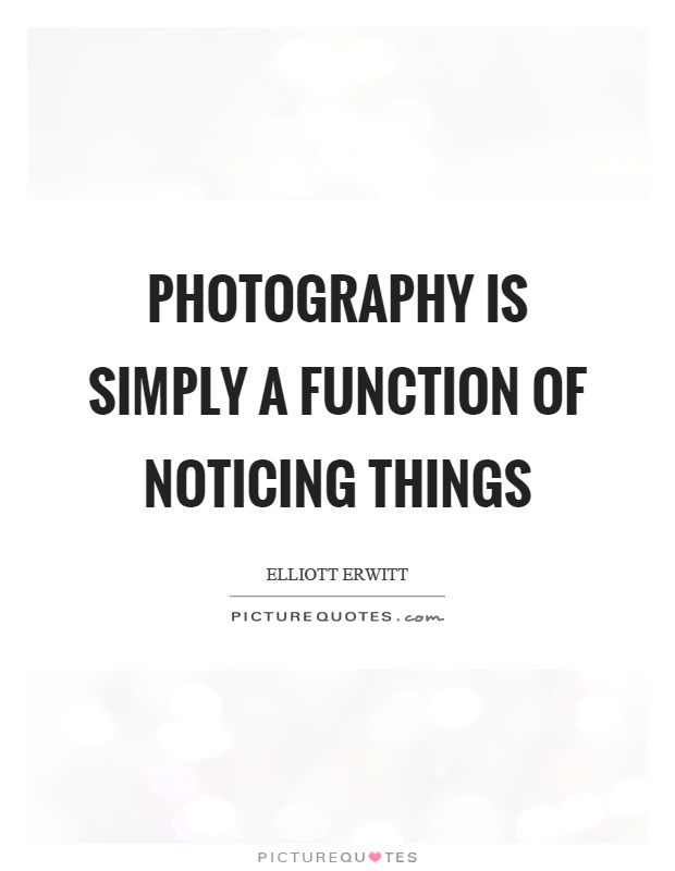 Photography is simply a function of noticing things Picture Quote #1