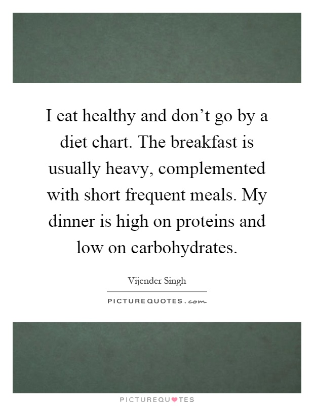 I eat healthy and don't go by a diet chart. The breakfast is usually heavy, complemented with short frequent meals. My dinner is high on proteins and low on carbohydrates Picture Quote #1