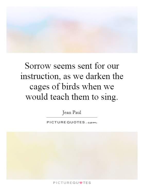 Sorrow seems sent for our instruction, as we darken the cages of birds when we would teach them to sing Picture Quote #1