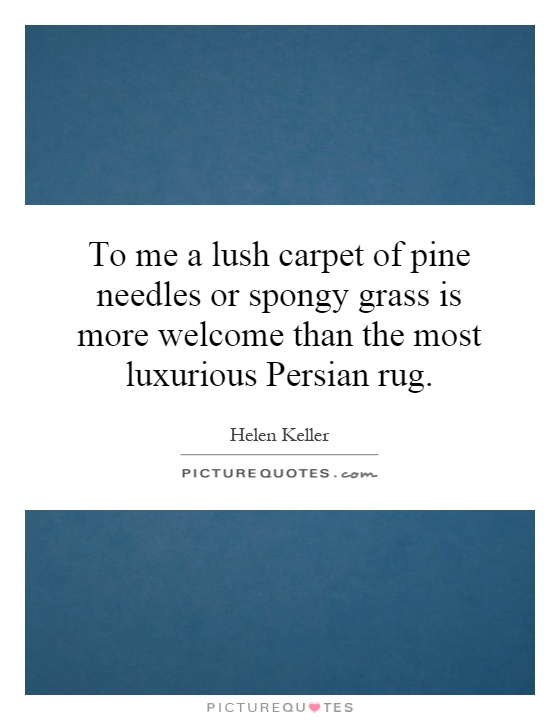 To me a lush carpet of pine needles or spongy grass is more welcome than the most luxurious Persian rug Picture Quote #1