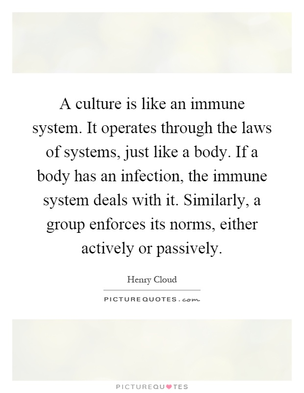 A culture is like an immune system. It operates through the laws of systems, just like a body. If a body has an infection, the immune system deals with it. Similarly, a group enforces its norms, either actively or passively Picture Quote #1