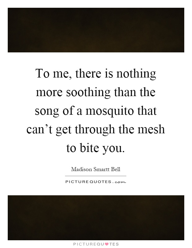 To me, there is nothing more soothing than the song of a mosquito that can't get through the mesh to bite you Picture Quote #1