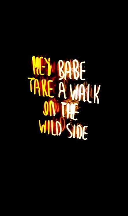 Hey babe, take a walk on the wild side Picture Quote #1
