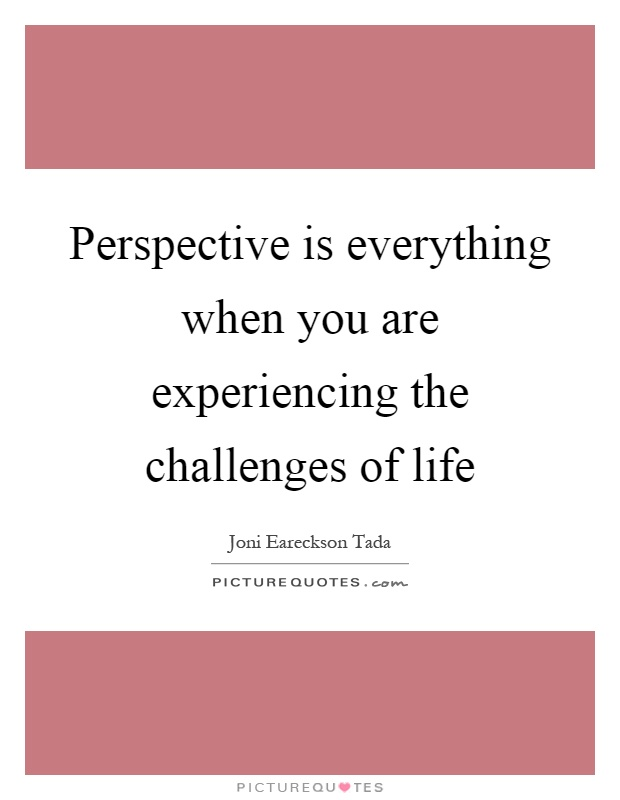 Perspective is everything when you are experiencing the challenges of life Picture Quote #1