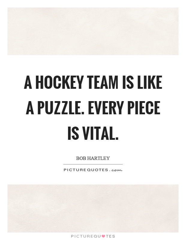 A hockey team is like a puzzle. Every piece is vital Picture Quote #1