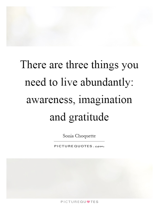 There are three things you need to live abundantly: awareness, imagination and gratitude Picture Quote #1