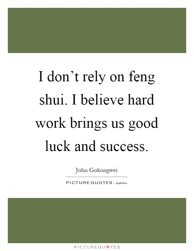 I don't rely on feng shui. I believe hard work brings us good luck and success Picture Quote #1