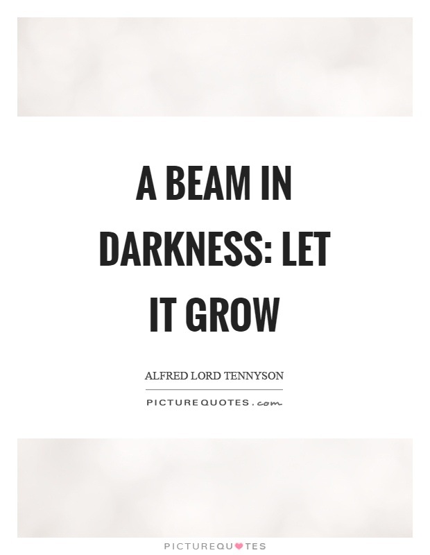 A beam in darkness: let it grow Picture Quote #1