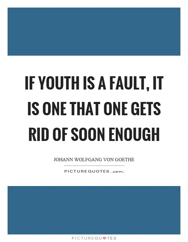 If youth is a fault, it is one that one gets rid of soon enough Picture Quote #1
