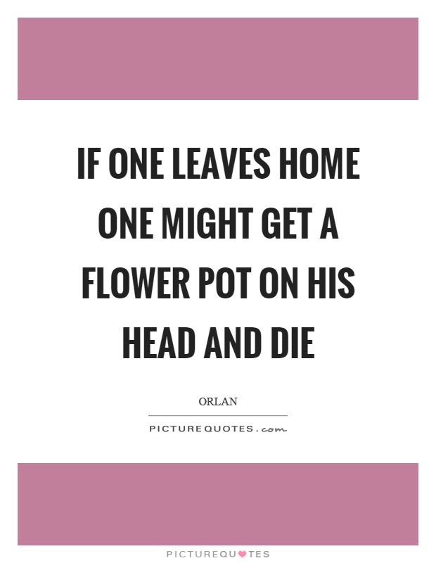 If one leaves home one might get a flower pot on his head and die Picture Quote #1