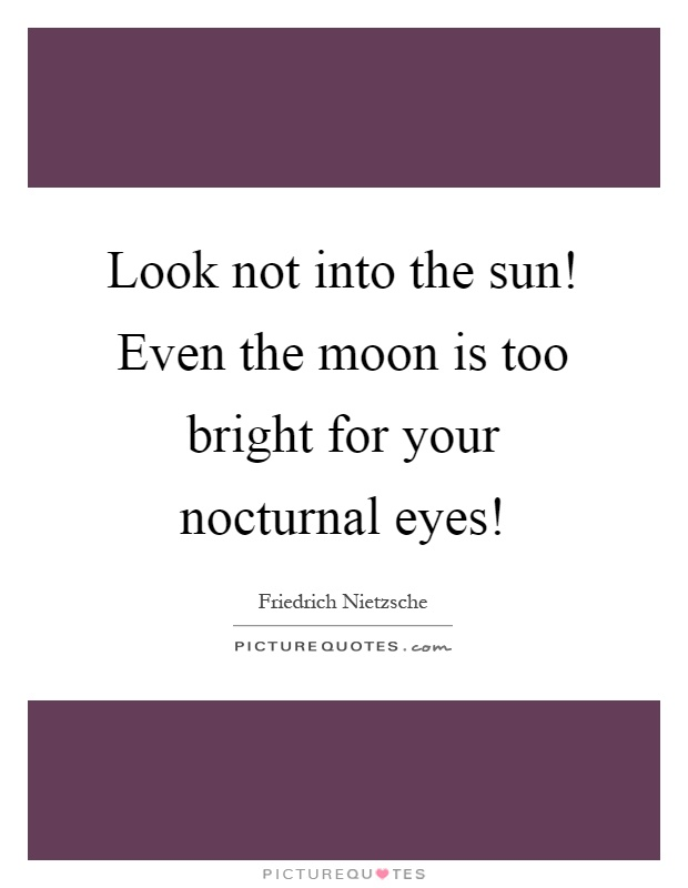 Look not into the sun! Even the moon is too bright for your nocturnal eyes! Picture Quote #1