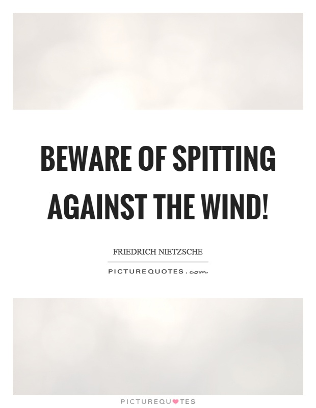 Beware of spitting against the wind! Picture Quote #1