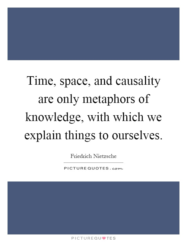 Time, space, and causality are only metaphors of knowledge, with which we explain things to ourselves Picture Quote #1