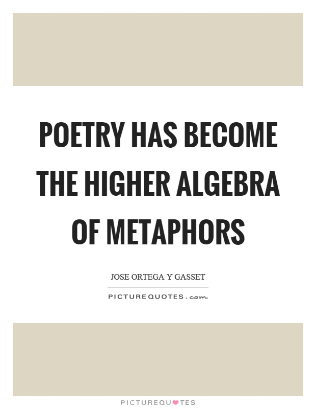 Poetry has become the higher algebra of metaphors Picture Quote #1