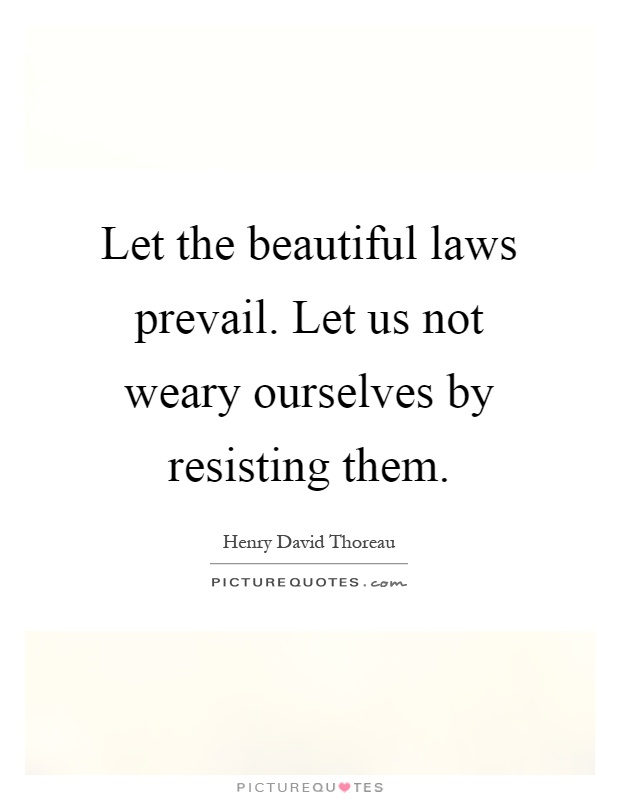 Let the beautiful laws prevail. Let us not weary ourselves by resisting them Picture Quote #1