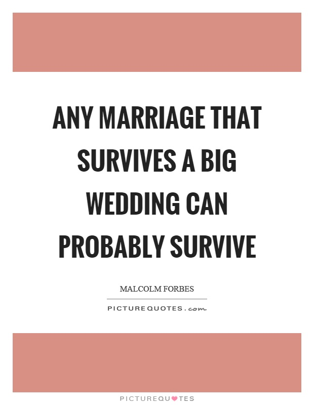 Any marriage that survives a big wedding can probably survive Picture Quote #1