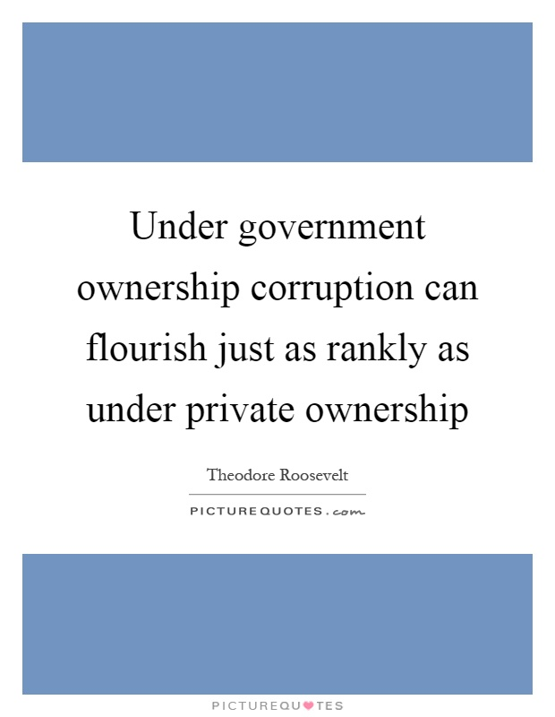 Under government ownership corruption can flourish just as rankly as under private ownership Picture Quote #1
