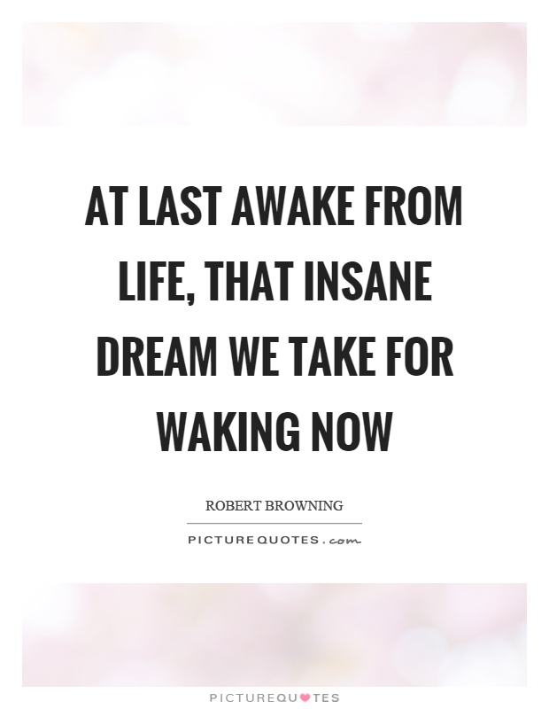 At last awake from life, that insane dream we take for waking now Picture Quote #1