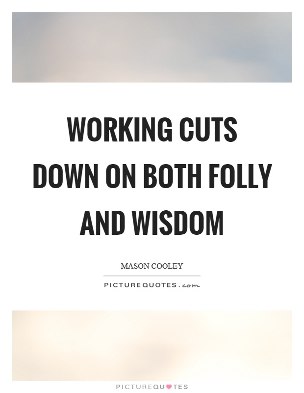 Working cuts down on both folly and wisdom Picture Quote #1
