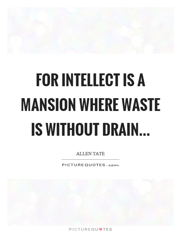 For intellect is a mansion where waste is without drain Picture Quote #1