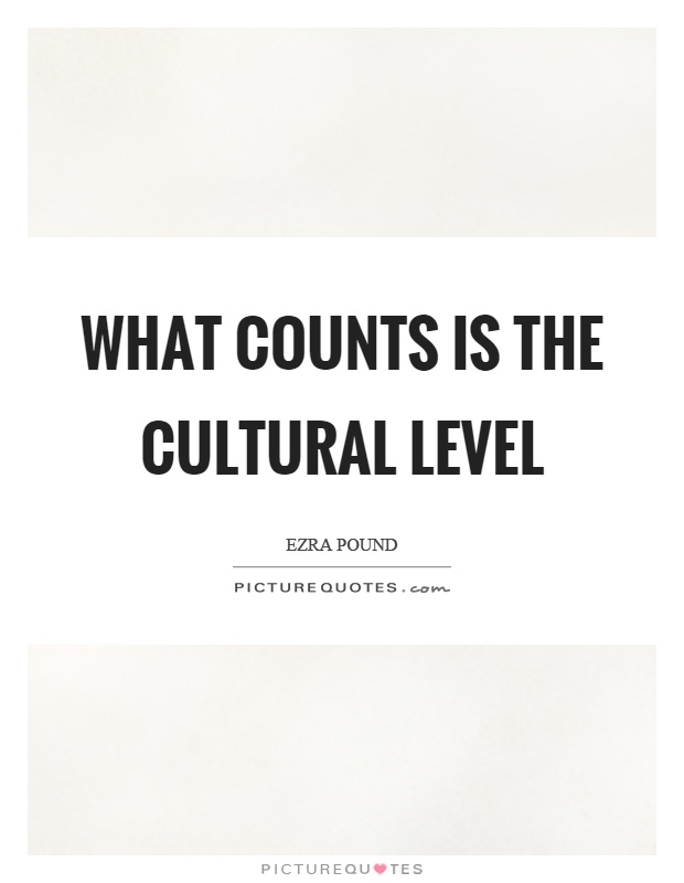 What counts is the cultural level Picture Quote #1
