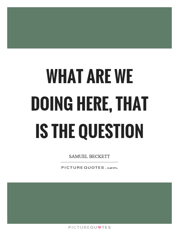 What are we doing here, that is the question Picture Quote #1