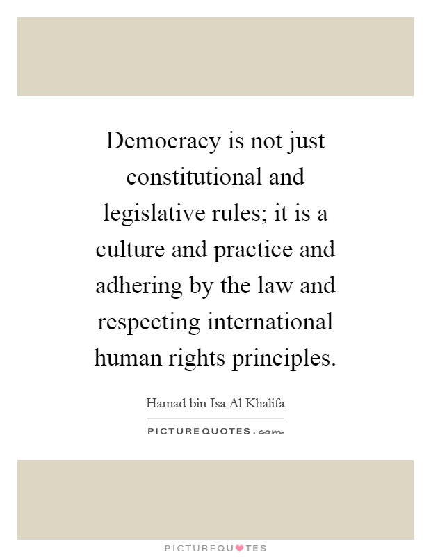 Democracy is not just constitutional and legislative rules; it is a culture and practice and adhering by the law and respecting international human rights principles Picture Quote #1