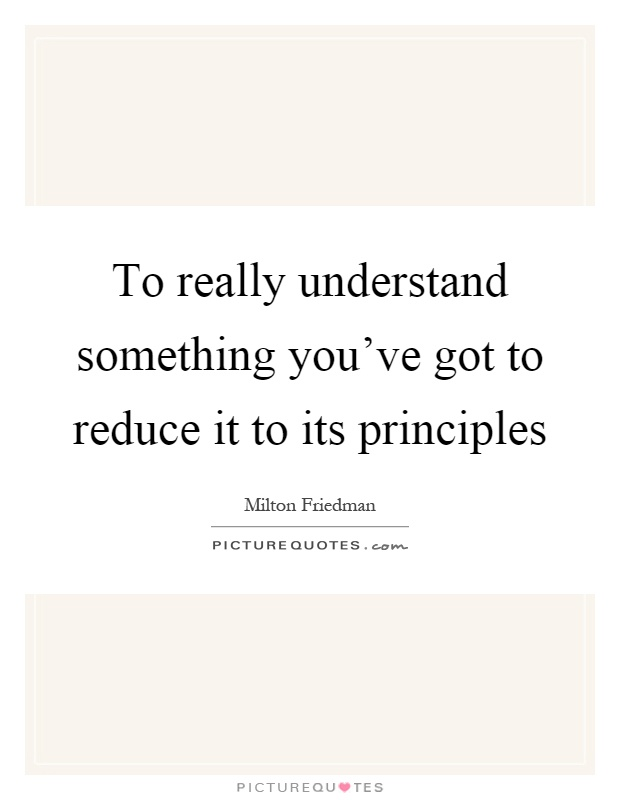 To really understand something you've got to reduce it to its principles Picture Quote #1