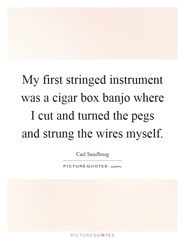 My first stringed instrument was a cigar box banjo where I cut and turned the pegs and strung the wires myself Picture Quote #1