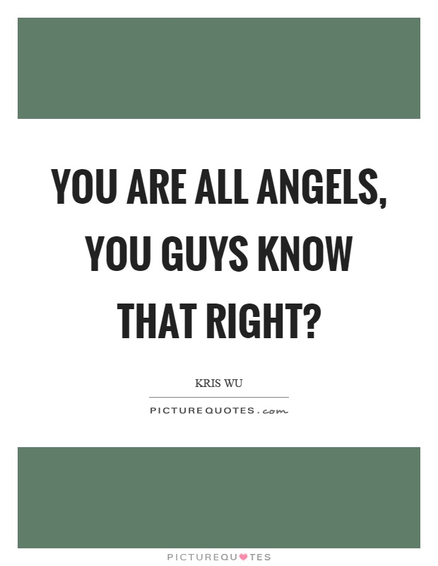 You are all angels, you guys know that right? Picture Quote #1