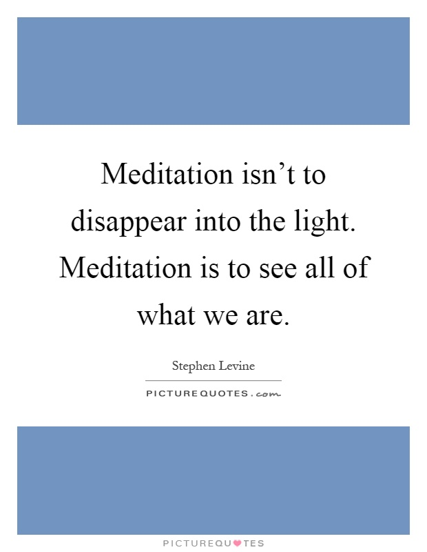 Meditation isn't to disappear into the light. Meditation is to see all of what we are Picture Quote #1