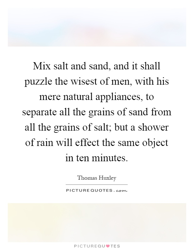 Mix salt and sand, and it shall puzzle the wisest of men, with his mere natural appliances, to separate all the grains of sand from all the grains of salt; but a shower of rain will effect the same object in ten minutes Picture Quote #1
